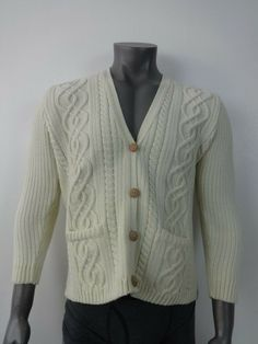 0c3eaf8c9dd Mens Cardigan Cricket Jumper Cream Chunky Knit El Corte Ingles Gloria Large   fashion  clothing  shoes  accessories  mensclothing  sweaters (ebay link)