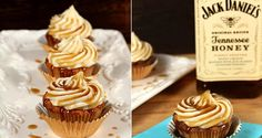 Jack Daniel's Honey Whiskey Cupcakes Bring Booze To Dessert In The Most Delicious Way Jack Daniels Cupcakes, Whiskey Cupcakes, Honey Cupcakes, Honey Cake, Yummy Cupcakes, List Of Desserts, Great Desserts, Cookie Desserts, Jack Daniels Honey Whiskey