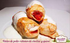 Pechugas de pollo rellenas de chorizo y queso en salsa -  Los filetes de pollo son muy versátiles, puesto que se pueden rellenar de lo que más nos guste. Por ello, yo he querido hacer de ellos una explosión de sabor ibérico con un buen chorrizo de mi pueblo. Estos rellenos de dicho chorizo y un gran queso semicurado, es todo un manjar que se derrite en... - http://www.lasrecetascocina.com/2014/03/27/pechugas-de-pollo-rellenas-de-chorizo-y-queso-en-salsa/