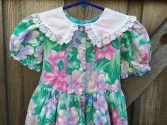 Vintage Floral Dress Girls 4/5 by lishyloo on Etsy