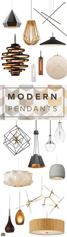 18 great looking modern pendant lights for every budget.  ~ Great pin! For Oahu architectural design visit http://ownerbuiltdesign.com