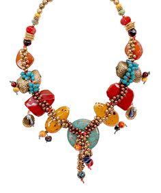 This Turquoise & Red Bead Necklace by Treska is perfect! #zulilyfinds
