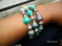 Turquoise and Silver Inspired Paper Bead Bracelet