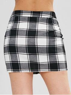 79905d8768 ZAFUL Zip Through Checked Pelmet Mini Skirt - BLACK M Line Patterns, Mini  Skirts,