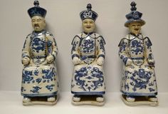 Set of 3 Chinese Blue & White Porcelain Qing Dynasty Emperor Figure Statue PS-01