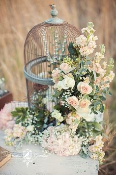 Birdcage overflows with a gorgeous flower arrangement for rustic wedding birdcage centerpiece wedding, birdcage decor Chic Wedding, Wedding Table, Rustic Wedding, Wedding Vintage, Wedding Blog, Wedding Reception, Wedding Ideas, Vintage Glam, Wedding Themes