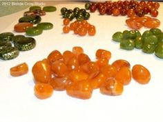 """Faux honey amber polymer clay beads and a """"how to"""" description included"""
