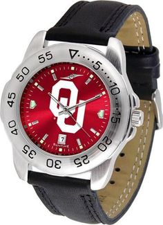 University of Oklahoma Sooners Men's Leather Band Sports Watch
