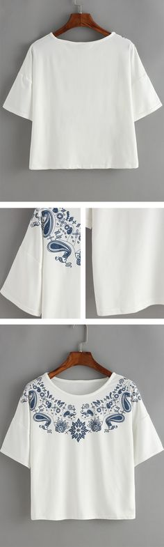 Dropped Shoulder Seam Paisley Print T-Shirt