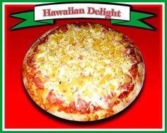 Hawaiian Delight  Pizza sauce, canadian style bacon, plenty of pineapple, lots of mozzarella