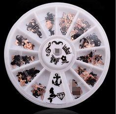 1-Set Stylish Popular 3D Acrylic Rhinestone Nail Art Wheel Accessory Decor Full Design Non-Toxic Pattern Style