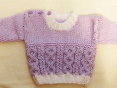 Lilac and White Baby Sweater, Hand Knitted, Aran Yarn, Cable Pattern, Unisex, Gift, Baby Shower, New Baby, Baby Clothes, Baby Accessories