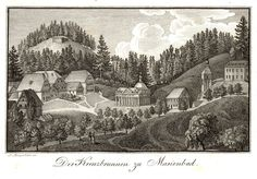 Mariánské Lázně Der Kreuzbrunnen zu Marienbad, copper engraving, early 19. century -