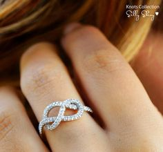 Description: Infinity knot - diamond ring - Unique Engagement Ring ♥ Feminine and delicate look. ♥ 14k white gold in pictures. (if you would