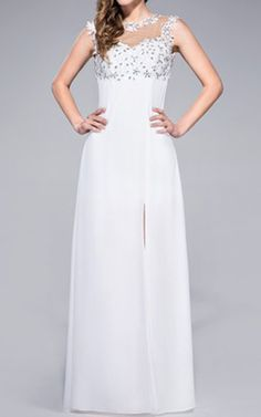 Ivory Sheath Column Scoop Neck Floor Length Chiffon Prom Dress Lace Beading Sequins Split Front Harry Dress HD40809