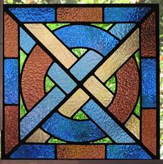 ELY Medieval Stained Glass Panel Blue Plum Green