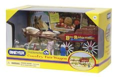 """Breyer Stablemates Country Fair Wagon by Breyer. $13.93. From the Manufacturer                Hook up your palomino horse to the buckboard wagon and head to the Breyer Country Fair. Enter your prized bunny, pig, chicken, and goat in the local competitions, and come home with a blue ribbon. This set also includes a wagon, harness, Stablemates palomino horse, and fencing. Box Size: 8"""" x 5.25"""" x 5"""".                                    Product Description                Hook up your p..."""