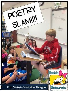Free Idea:  The Best Way to Teach Poetry:  Learn how to give a Poetry Slam at the end of your unit or end of year!  #rockinresources  #poetryrocks  #poetryslam