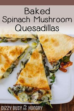Baked Spinach Mushroom Quesadillas, Vegetarian Cheesy Quesadilla with mushrooms…. Baked Spinach Mushroom Quesadillas, Vegetarian Cheesy Quesadilla with mushrooms. Back to school lunches should be this good! Tasty Vegetarian Recipes, Healthy Recipes, Mexican Food Recipes, Cooking Recipes, Cooking Games, Easy Recipes, Dinner Recipes, Cooking Bacon, Spinach Recipes