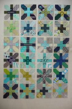 Ooooh, more of those beautiful blue/green/gray X and + blocks! Grace and Favour: UPDATE ON THE X AND PLUS SWAP