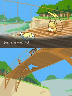Oh my gosh this is so funny.  Can you actually use dig or dive on a bridge?