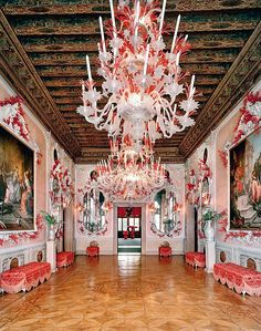 """The """"Coral Ballroom"""" at the 12th century Palazzo Brandolini on the Grand Canale in Venice, Italy decorated by Tony Duquette and Hutton Wilkinson for Mr. and Mrs. John N. Rosekrans. c.1999"""