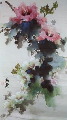 Chinese Painting, Chinese Art, Chinese Brush, Watercolor Artists, Watercolour Painting, Abstract Flowers, Watercolor Flowers, Japan Painting, Floral Artwork