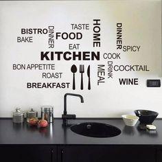 creative kitchen cook wall stickers home decor vinyl decals wallpaper mural art posters Kitchen Wall Quotes, Kitchen Rules, Kitchen Wall Stickers, Wall Stickers Home Decor, Wall Stickers Murals, Kitchen Wall Art, Vinyl Wall Decals, Wall Decor, Kitchen Cook