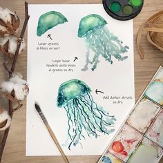 Watercolor for Beginners - Jellyfish , Step by step watercolour, watercolor tutorial, watercolor art for beginners, watercolour Watercolour Step By Step, Watercolor Beginner, Watercolor Paintings For Beginners, Pen And Watercolor, Watercolour Tutorials, Watercolor Jellyfish, Jellyfish Painting, Water Paint Art, Art Tutorials