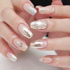 all nail shapes Nailart Love Nails, Pretty Nails, Nail Shapes Squoval, Asian Nails, Gold Acrylic Nails, Valentine Nail Art, Diy Nail Designs, Luxury Nails, Elegant Nails