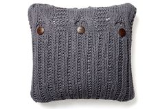 One Kings Lane - All for Nautical - Cable Knit 20x20 Cotton Pillow, Steel