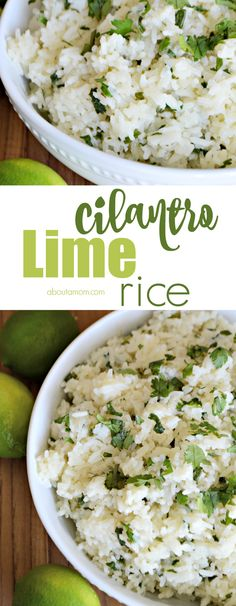 This easy-to-make and delicious Cilantro Lime Rice recipe is incredibly flavorful, and pairs perfectly with your favorite Mexican foods or as a filler for burritos. **use cauliflower*** Rice Recipes, Side Dish Recipes, Mexican Food Recipes, Dinner Recipes, Cooking Recipes, Healthy Recipes, Cilantro Recipes, Sushi Recipes, Cat Recipes