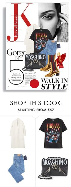 """""""Kick It: Chelsea boots"""" by thestrawberryfields ❤ liked on Polyvore featuring MANGO, Trunk LTD, Moschino, Gucci, gold, autumn, gucci, chelseaboots and rocktee"""