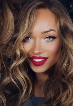 Red lipstick look pinterest @veronicamakeup @veronicanicolemakeu