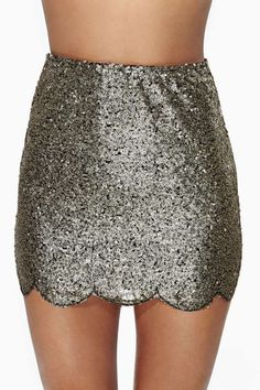 Scalloped Sequin Skirt