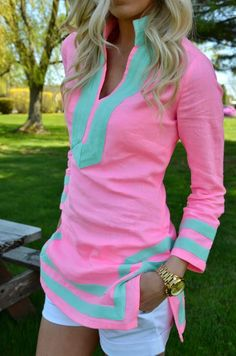 Mint lining pink dress with short