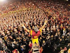 USC quarterback Mark Sanchez leads the USC marching band after beating Penn State in the 2009 Rose Bowl.