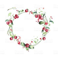 Watercolor wreath, red berries, green branches and leaves royalty-free stock vector art Christmas Paintings, Christmas Art, Christmas Wreaths, Advent Wreaths, Christmas Tables, Nordic Christmas, Reindeer Christmas, Modern Christmas, Watercolor Christmas Cards