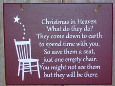 Christmas In Heaven Seat Chair Wood Vinyl Sign by heartfeltgiver