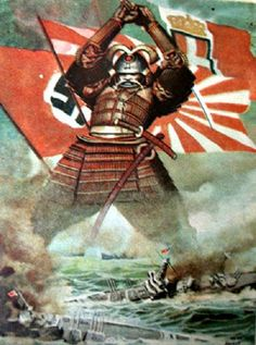 Stock Illustration : Japanese samurai sinking American fleet at Pearl Harbor December poster by Gino Boccasile World War II, Italy, century Pearl Harbor, Ww2 Propaganda Posters, Political Posters, Samurai, Japanese Poster, Poster Vintage, Military Art, Illustrations And Posters, Caricatures