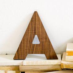 Walnut Wood Letter A Wall Decor
