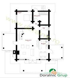 Proiect Doralnic 11 Case din busteni - Cabane din lemn Floor Plans, Cabin, Architectural Plants, Home, Cabins, Cottage, Wooden Houses, Floor Plan Drawing, House Floor Plans