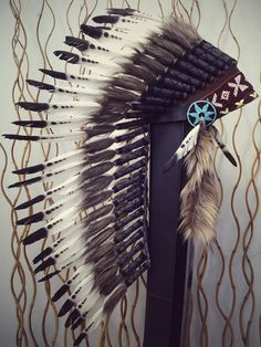 Medium Indian White and Black Feather by THEWORLDOFFEATHERS