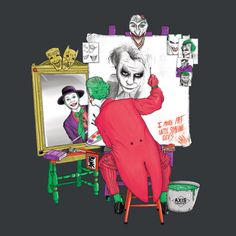 DC Comics: The #Joker / Norman #Rockwell: Triple Self-portrait mashup t-shirt.