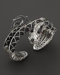 John Hardy Naga Silver Lava Dragon Kick Cuff Bracelet with Black Sapphires and Rubies