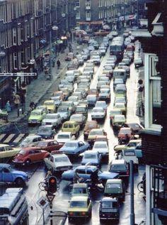 Amsterdam traffic jam 1970