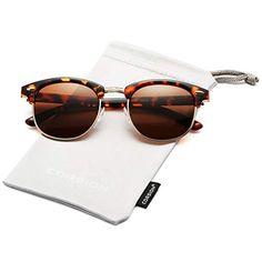 1a6134ecee06 COASION Retro Semi Rimless Polarized Clubmasters Sunglasses Classic Men  Women Clear Glasses