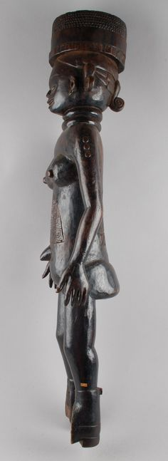 standing female figure with scarification carved on stomach and lower back, round headdress. Dolphin Teeth, Mexican Skulls, Sierra Leone, Objects, Statue, Gallery, Collection, Art, Art Background