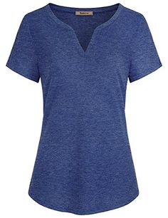 Tunics for Women to Wear with Leggings,Nomorer Ladies V Neck Short Sleeve Casual Henley T Shirt Blouses Tops Space Dye (Blue,X-Large)  Special Offer: $23.99  100 Reviews Feature: The hemline is also curved and looks nice? The top can work in an office or casual wear Double stitching on...