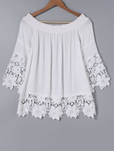 Elegant Off The Shoulder Lace Spliced White Blouse Elegante schulterfreie weiße Spitzenbluse Blouse Styles, Blouse Designs, Stylish Dresses, Fashion Dresses, Modest Fashion, Hijab Fashion, Fashion Clothes, Casual Dresses, Daily Dress Me